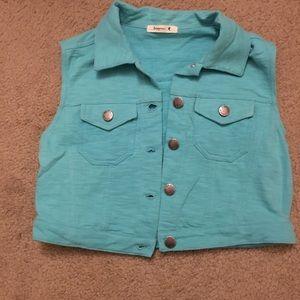 Teaspoon Turquoise / Aqua Button Up Vest Size S